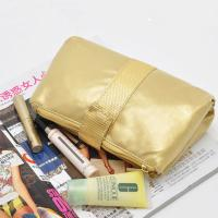 Quality Portable Toiletry PU Leather Folding Cosmetic Bag  Golden Color For Travel wholesale