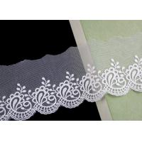 Quality Nylon Mesh Cotton Embroidery Lace Trim With Floral Design Scalloped Edge No Azo wholesale