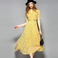 Quality yellow hot sale women lace-up polyester lace dress wholesale
