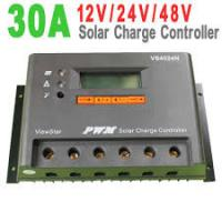China Gray Color IP30 32 bit MCU  PWM Solar Charge Controller 12V / 24V / 48V auto , 30A on sale