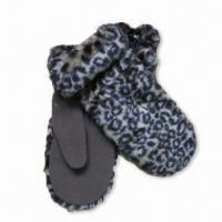 Quality Fleece Mittens with Animal Printed Faux Fur, Available in Various Colors wholesale