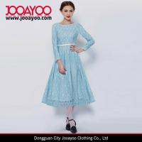 China New Design Ladies Long Sleeves Baby Blue Lace Pattern Fit ad Flare Elegant Casual Dress on sale