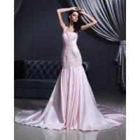 Quality Pink Satin dropped waist Halter Neck Wedding Dresses with chapel train wholesale