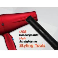 China Red Cordless Rechargeable Hair Straighteners Flat Iron With USB Charger​ on sale