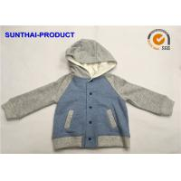 Quality 100% Cotton Kids Hooded Jacket Contrast Long Sleeve Cap Snaps For Closure wholesale