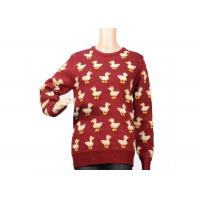 Quality Ladies Crew Neck Red Mohair Pullover Sweater 9 Gauge Cute Duck Knitted Pattern wholesale