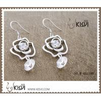 Quality 925 sterling silver + zircon gemstone earrings with low MOQ wholesale
