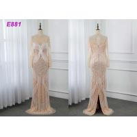 Quality Heavy beading evening dress tassels long sleeves sheath formal party dress wholesale