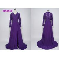 Quality Women Purple Mother Of The Bride Formal Gowns , Cloak Plus Size Mother Of The Bride Gowns wholesale