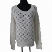 Quality Women's crew neck long sleeves pullover with fake pearls embroidery wholesale