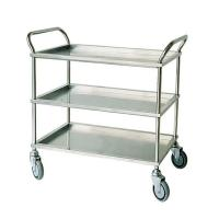 China Three Tier Stainless Steel Surgical Instrument Trolley Metal Handle In Silver on sale