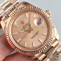 Buy cheap Wholesale 2016 Rolex Day-Date 228239 Full Rose Gold 40mm Automatic 3255 Gold Dial Stick Marks Fluted Bezel Watch from wholesalers