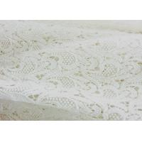 Scallop Antique Cotton Bridal Lace Fabric , Water Soluble Flower Lace Fabric For