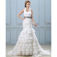 Quality Sexy Open back layered Wedding Dress with belt , drop waist womens wedding gowns wholesale
