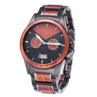 Quality Black Steel Wood Quartz Movement wrist Watches wholesale