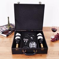 Quality Wholesale leather wooden gift packaging carton wine package box With wine glass wholesale