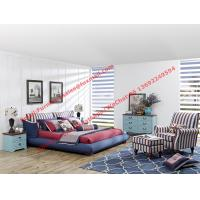 Cheap Blue and white strip Upholstered furniture bedding ship type headboard with pillow and fabric surronding bedstead for sale