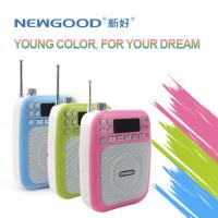 Cheap NEWGOOD cheap LED screen pink green USB/TF/SD Card Audio Player Speaker with voice amplifer,voice recorder and FM radio for sale