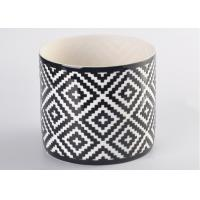 Quality Round square pattern Ceramic Candle Holder for table decorations , decal white inside wholesale