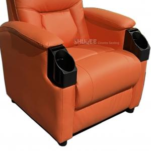 Quality Leatehr Recliner Orange Movie Theater Seats With Cup Sacuer For Cinema, Home, Living Room wholesale