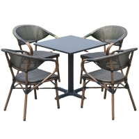 Buy cheap Aluminum Frames 4 Seater Grey Rattan Dining Set W160* D90* H75cm Table from wholesalers