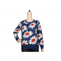Quality Ladies Navy Blue Womens Knit Sweater Crew Neck Jacquard Pattern For Spring wholesale