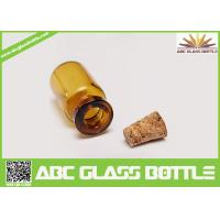 Quality 10ml Amber Empty Glass Bottles With Cork Stoppers wholesale