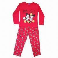 Quality 100% cotton children's sleepwear with all over graphics printing, customized designs are accepted wholesale