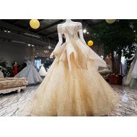 Quality Special Gold Sequin Prom Dress Off Shoulder Short Sleeve Back Bandage Puffy Tail wholesale