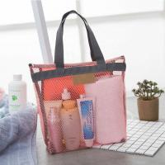 Quality Eco Net Custom Pink Beach Bag Tote Compact Poolside Classic Rectangle wholesale