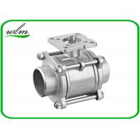 Quality Three Piece Sanitary Ball Valves Stainless Steel 304 Or 316L With High Mounting Pad wholesale