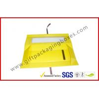Quality Foldable Yellow Customized Gift Packaging Boxes With Big Window , Magnetic Flat Packing Gift Box wholesale