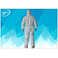 Quality Anti - Acid White Disposable Coverall Suit Microporous Film Laminated Fabric wholesale