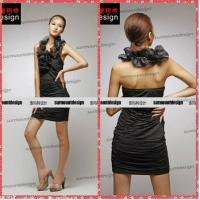 Quality Mini Women Sexy Organza Fabric Halter Black Party Dresses Teenagers China wholesale