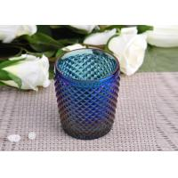 Quality Machine Made navy blue glass cylinder candle holder Embossed Cross Line wholesale