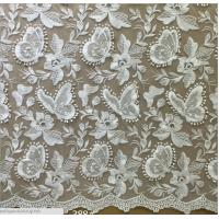 Quality Apparel Accessories Mesh Based  Embroidery with Bead  Lace Fabric  Ivory Color wholesale