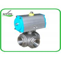 Cheap Food Grade 3 Way Sanitary Ball Valves Male / Female Thread , Floating Ball Core for sale