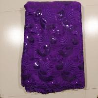 China Purple Double Net Embroidered Net Lace , Grande Toilette on sale
