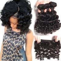 China Brazilian Bouncy Curly Hair Bundles Human Hair Weave Remy Hair Extensions Natural Color on sale