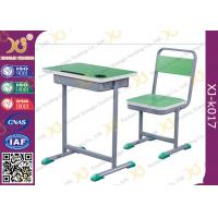 China Height Adjustable Wooden Top Student Table And Chair Set With Book Hook on sale