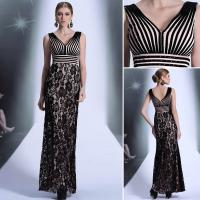 Quality Sell Black flower fashion stripe lady's embroidered long annual meeting show evening dress wholesale
