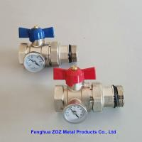 China 1'' Underfloor Heating Manifold Ball Valve With Thermometer ,Radiant Floor Heating Manifolds Ball Valve With Temperature on sale