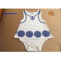 Quality Sleeveless Newborn Baby Bodysuits / Round Neck Cotton Baby Romper With Foaming Screen Print wholesale