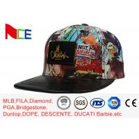 Quality ACE Graffiti Pattern Applique Flat Brim Snapback Hats For Women 5 Panels wholesale