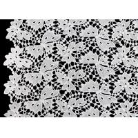 Quality Floral Schiffli Guipure Water Soluble Lace Fabric With Poly Milky Silk By SGS wholesale