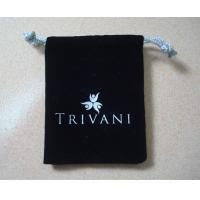 China Black velvet jewelry drawstring pouch on sale