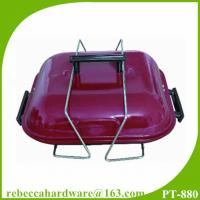 China Easy to carry portable hamburger shape folding pinic grill 14 charcoal barbeque grill on sale