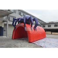 Quality Waterproof PVC Red Cool Spider Design Giant Inflatable Football Tunnel , Inflatable Tunnel Tent wholesale