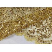 Quality Stretch Golden Lurex Sequin Lace Fabric , Nylon Mesh Fabric With Sequin Golden Thread wholesale