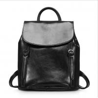 Quality vintage knapsack oil wax cow leather double shoulder bags women travel bag wholesale